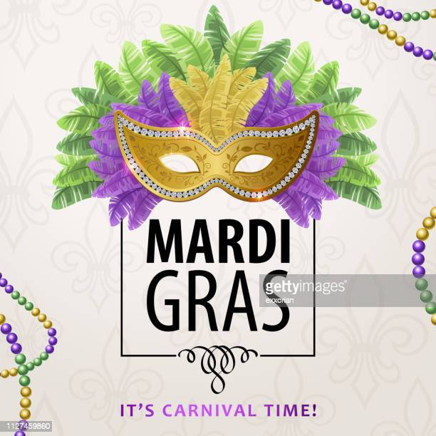 mardi gras carnival mask & feather - parade stock illustrations