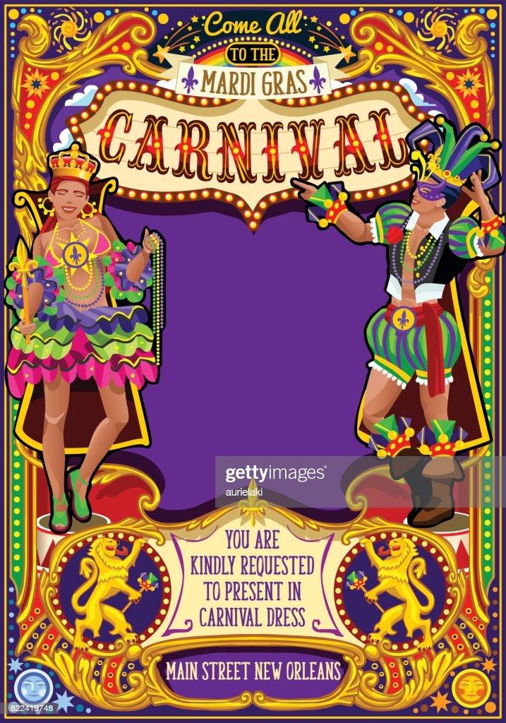 Mardi Gras Carnival Poster Invite Carnival Mask Show Parade