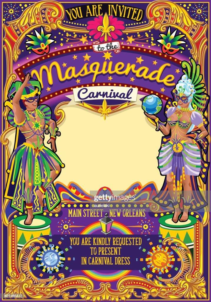 Mardi Gras Carnival Poster Template Carnival Mask Show Parade