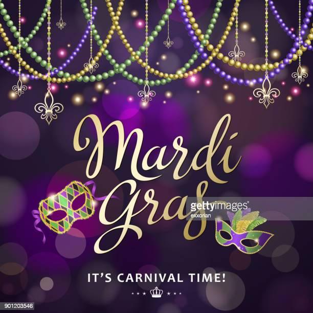 mardi gras carnival time - mardi gras stock illustrations, clip art, cartoons, & icons