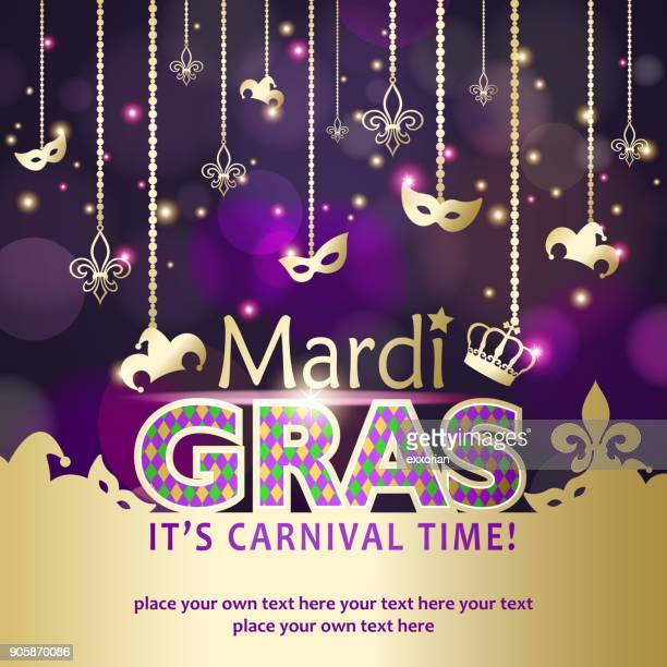 mardi gras carnival time - bead stock illustrations