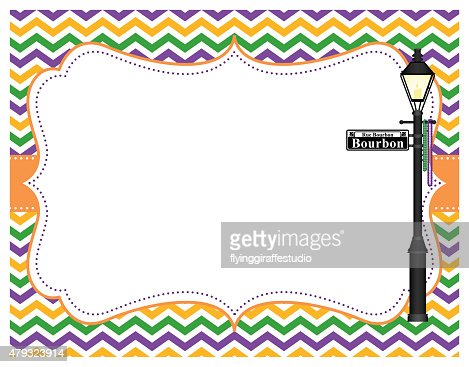 Mardi Gras Chevron Frame Vector Art | Getty Images