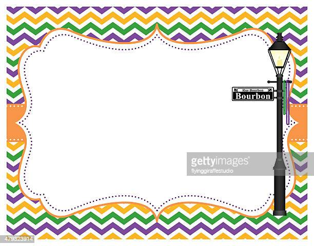 mardi gras chevron frame - new orleans stock illustrations, clip art, cartoons, & icons
