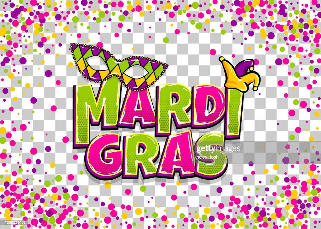 Mardi Gras colofred confetti background