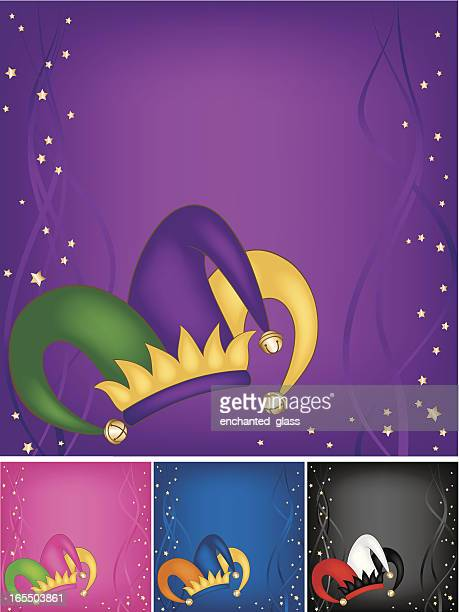 mardi gras court jesters hat w/ background - jester's hat stock illustrations, clip art, cartoons, & icons