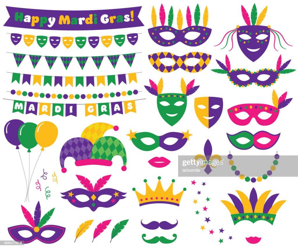 Mardi Gras decoration and design elements set