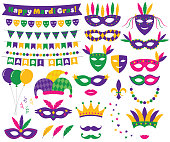 Mardi Gras decoration and design elements set