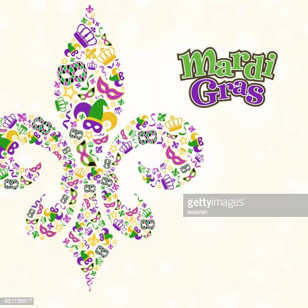 mardi gras design element shape in fleur de lis - jester's hat stock illustrations, clip art, cartoons, & icons
