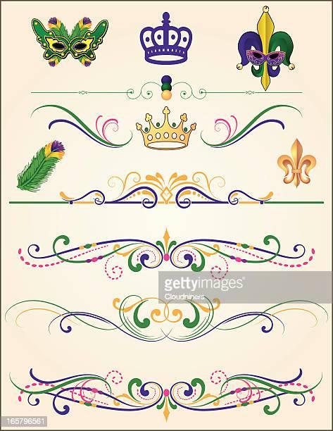 illustrations, cliparts, dessins animés et icônes de ensemble d'élément de mardi gras - fleur de lys