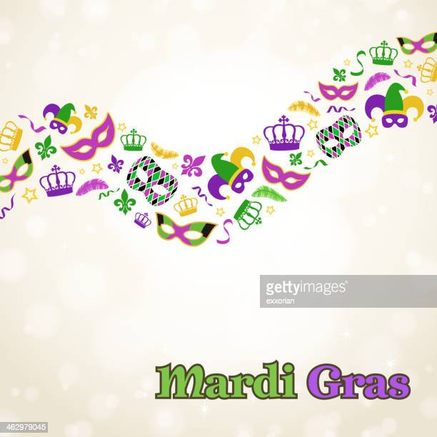 mardi gras elements - jester's hat stock illustrations, clip art, cartoons, & icons