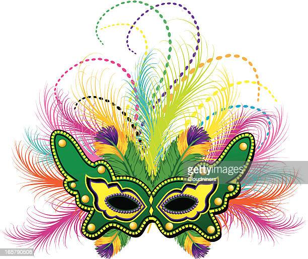 mardi gras feather mask - mardi gras stock illustrations, clip art, cartoons, & icons