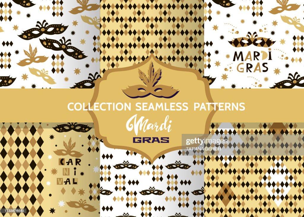 Mardi Gras Festive multicolor seamless patterns.