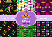 Mardi Gras Festive multicolor seamless patterns.