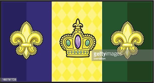 マルディグラの旗 - フルールドリス点のイラスト素材/クリップアート素材/マンガ素材/アイコン素材
