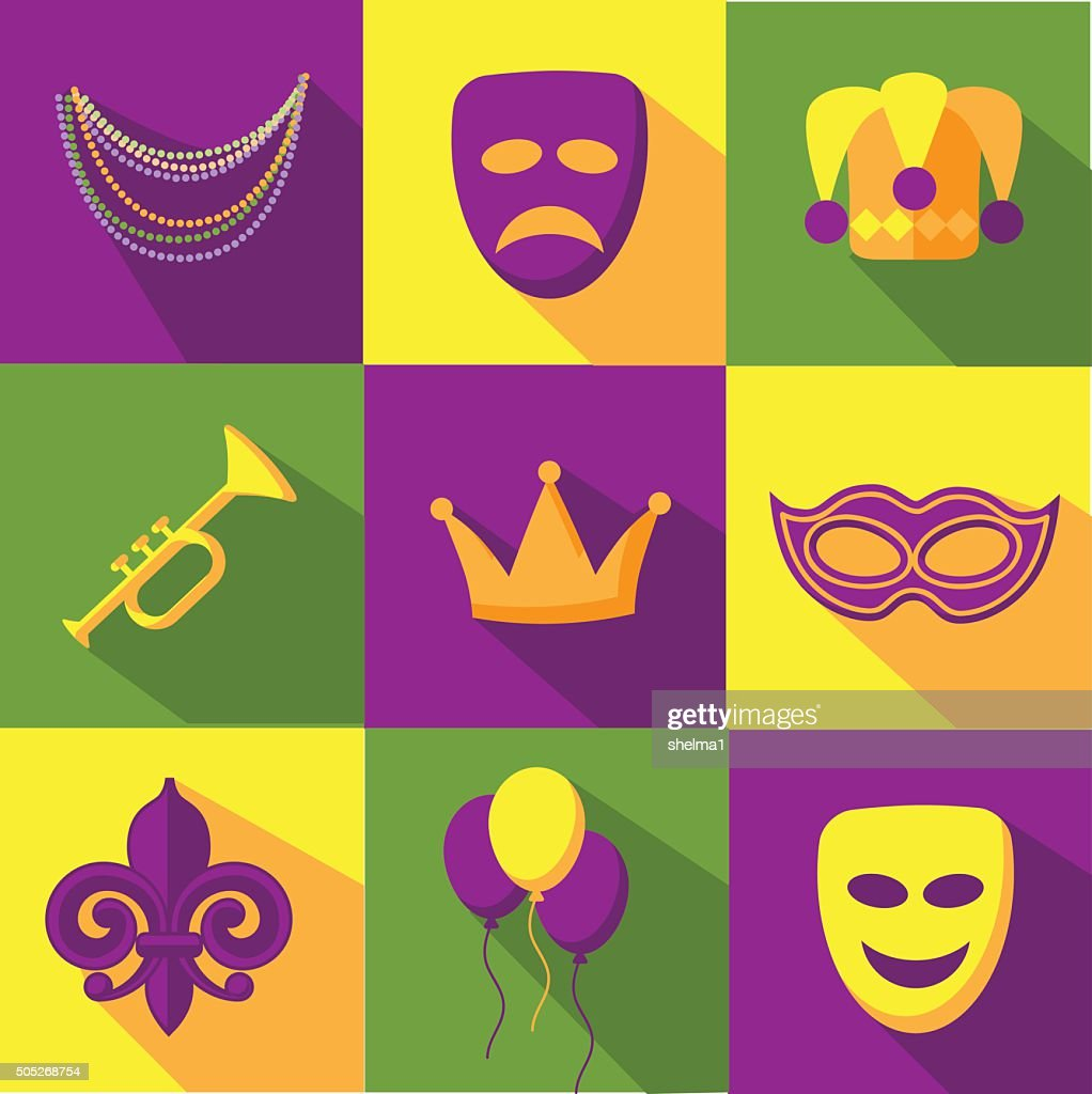Mardi Gras flat design icon collection
