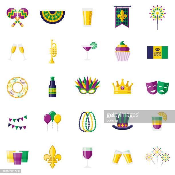 illustrations, cliparts, dessins animés et icônes de mardi gras design plat icon set - galette des rois