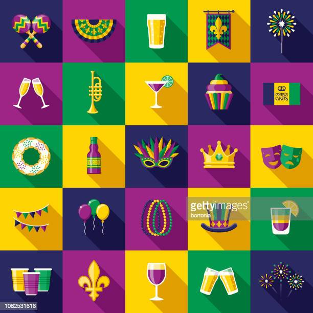 mardi gras flat design icon set - new orleans stock illustrations, clip art, cartoons, & icons