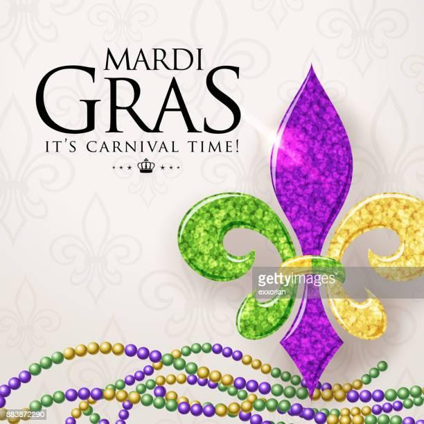 bildbanksillustrationer, clip art samt tecknat material och ikoner med mardi gras fleur de lys symbol - gras