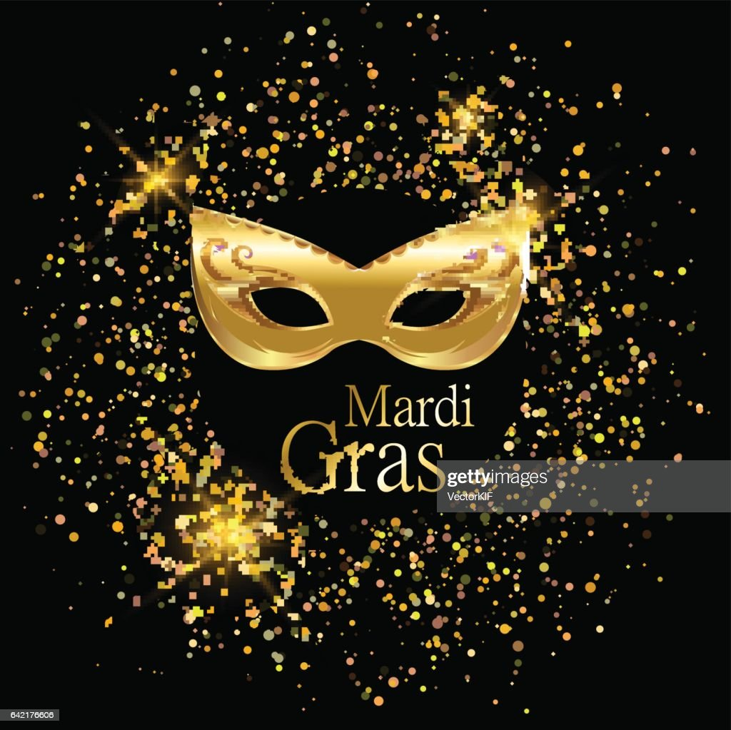 Mardi Gras golden carnival mask with ornaments