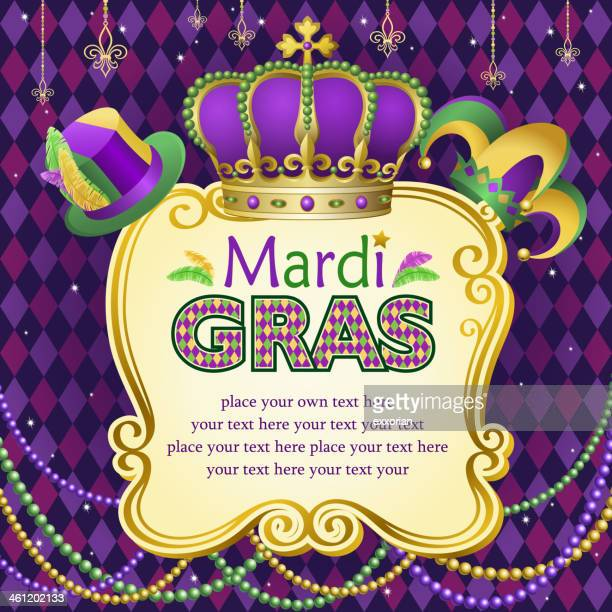bildbanksillustrationer, clip art samt tecknat material och ikoner med mardi gras hats frame - gras