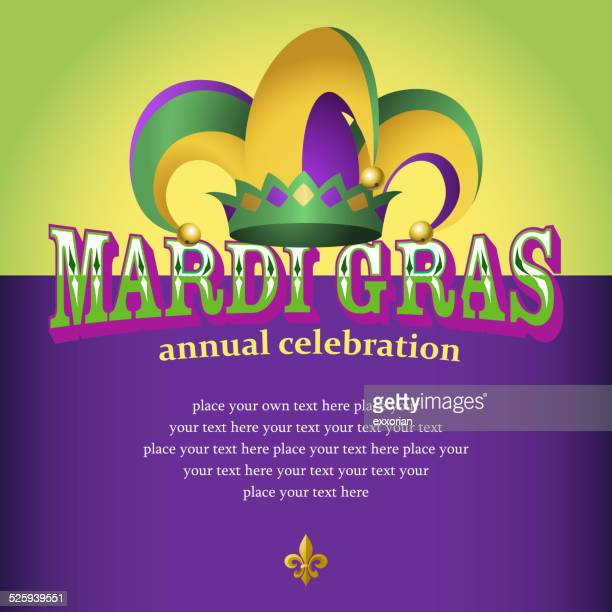mardi gras hester hat celebration notice - joker card stock illustrations, clip art, cartoons, & icons