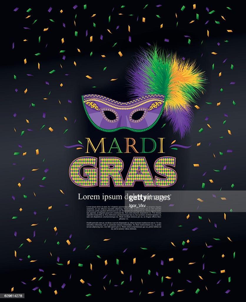 Mardi Gras holiday. Colorful carnival mask