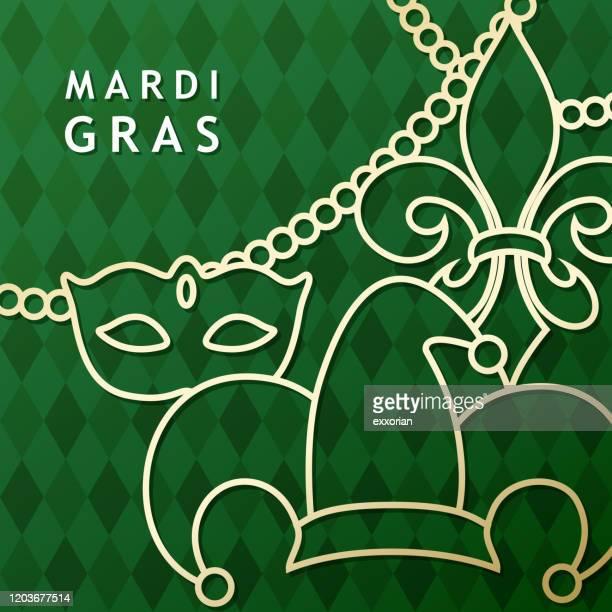bildbanksillustrationer, clip art samt tecknat material och ikoner med mardi gras ikon ställ grön bakgrund - gras