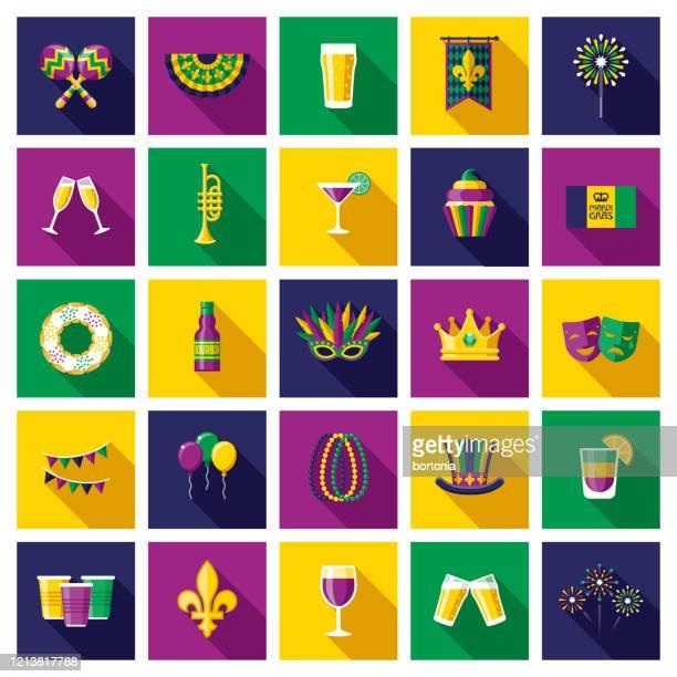 illustrations, cliparts, dessins animés et icônes de ensemble d'icônes de mardi gras - galette des rois