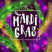 Mardi gras invitation card on palm background
