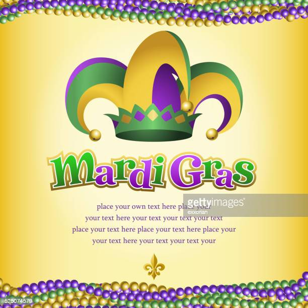 mardi gras jester hat and jewelry - jester's hat stock illustrations, clip art, cartoons, & icons