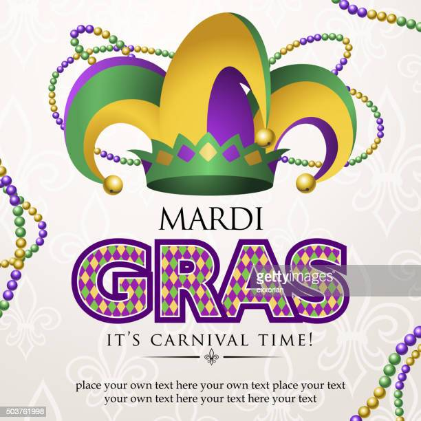 mardi gras jester hat carnival - joker card stock illustrations, clip art, cartoons, & icons