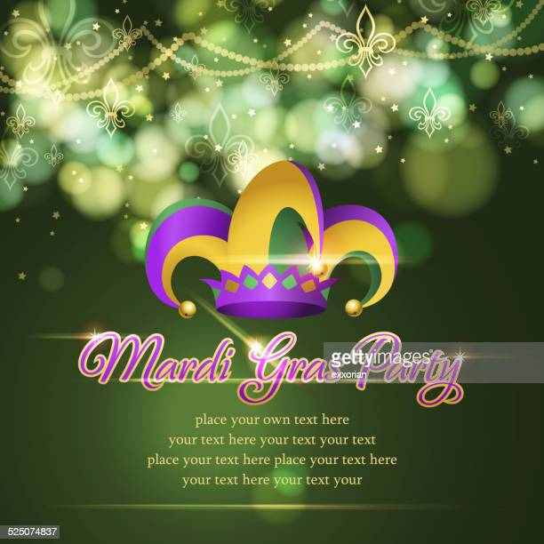 mardi gras jester hat party background - jester's hat stock illustrations, clip art, cartoons, & icons