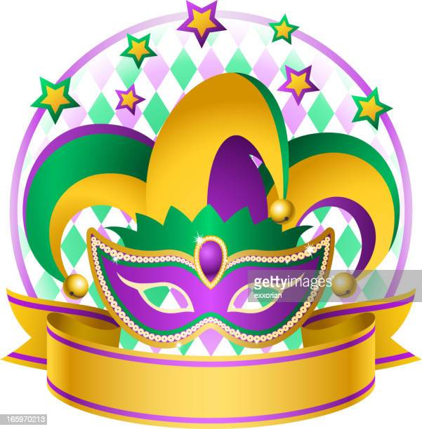 mardi gras jester hat - jester's hat stock illustrations, clip art, cartoons, & icons