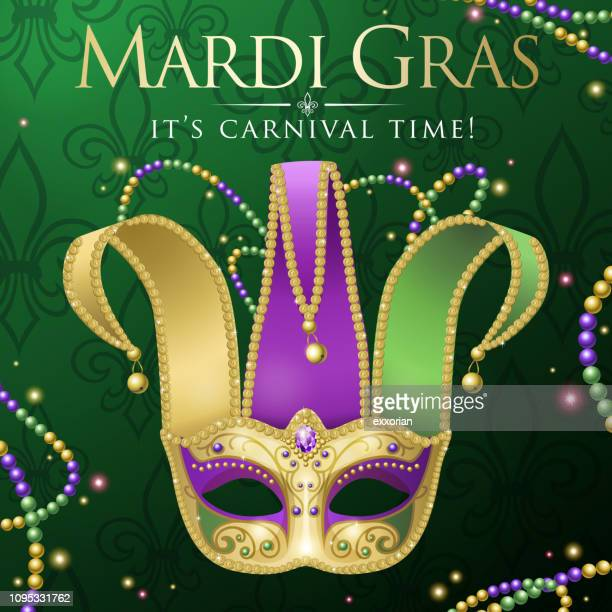 mardi gras jester mask party - mask disguise stock illustrations