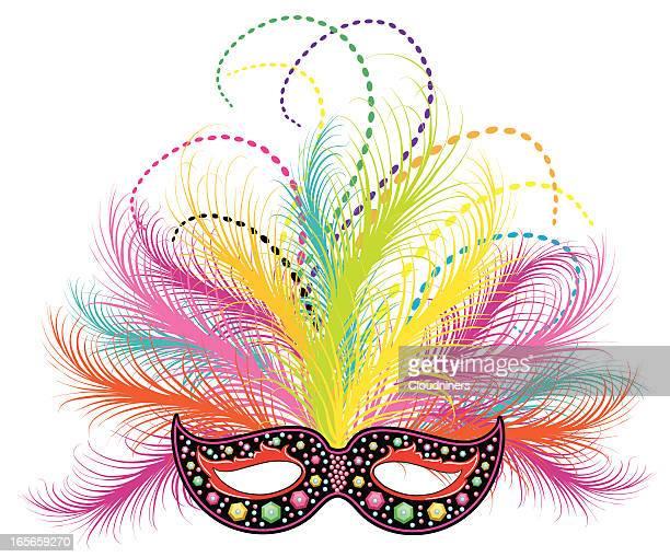 mardi gras jeweled mask - mardi gras stock illustrations, clip art, cartoons, & icons