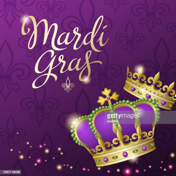 mardi gras king and queen crowns - queen royal person stock illustrations, clip art, cartoons, & icons