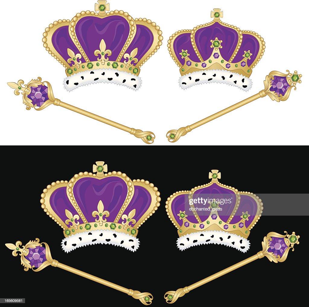 Mardi Gras King Queen Crowns Set Vector Art Getty Images