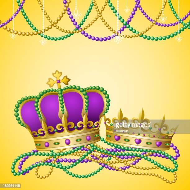 mardi gras king & queen - bead stock illustrations