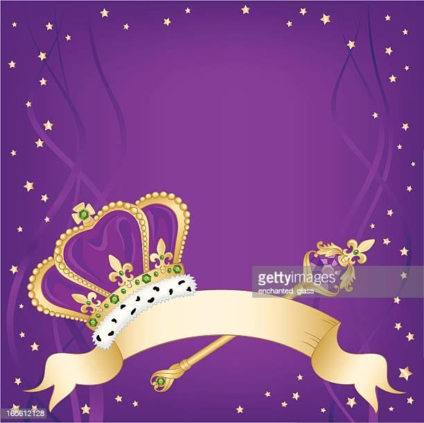 bildbanksillustrationer, clip art samt tecknat material och ikoner med mardi gras kings crown banner - gras