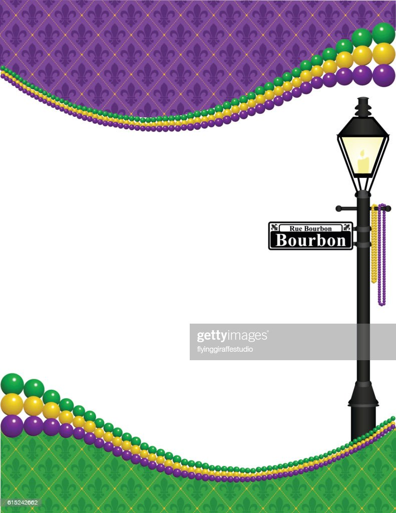 Mardi Gras Lamppost Frame Stock Illustration | Getty Images