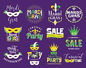 Mardi Gras lettering typography set. Emblems, logo with text sign