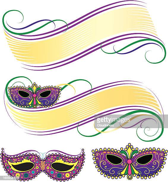 mardi gras mask banners - mardi gras stock illustrations, clip art, cartoons, & icons