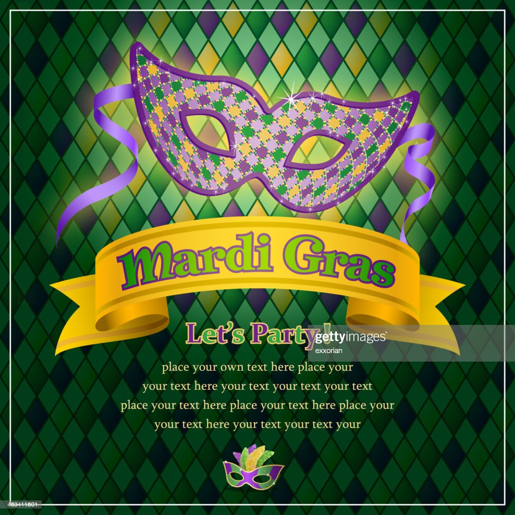 Mardi Gras Mask Decorating A Party Invitation Vector Art   Getty Images
