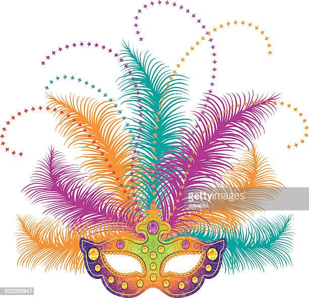 illustrations, cliparts, dessins animés et icônes de masque de mardi gras - plume