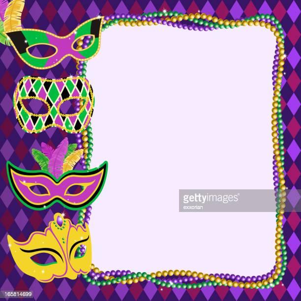mardi gras masks frame - mardi gras stock illustrations, clip art, cartoons, & icons