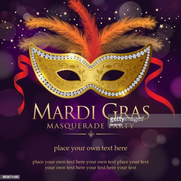 illustrazioni stock, clip art, cartoni animati e icone di tendenza di mardi gras masquerade party invitation - maschere carnevale