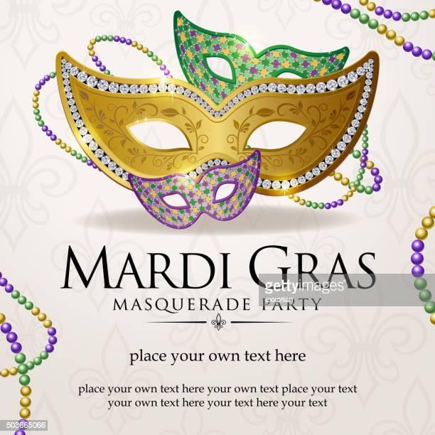 mardi gras masquerade party notice - stage costume stock illustrations