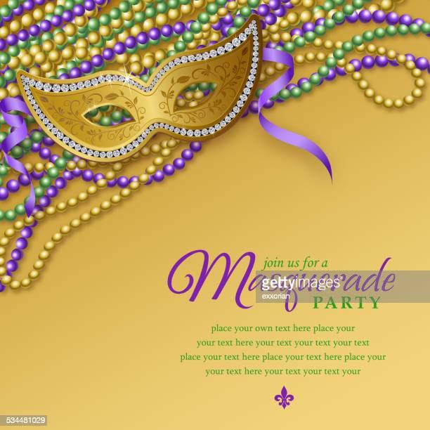 mardi gras masquerade party notice - mardi gras stock illustrations, clip art, cartoons, & icons