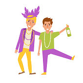 Mardi Gras men. Vector