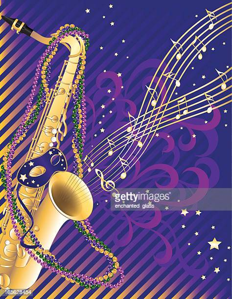 mardi gras musical jazz saxophone celebration - saxaphone stock illustrations, clip art, cartoons, & icons